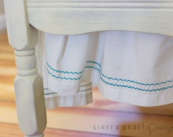Organic Crib Skirt, Turquoise, Teal, Embroided Crib Skirt, Crib Dust Ruffle Organic, Organic Toddler Bedding, Organic Baby Bedding, Neutral
