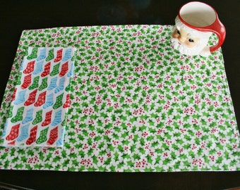 Christmas Placemats, Organic Cotton Placemats: Holiday Cheer, Christmas, Holiday, Home Decor, Table Linens, Holly, Snowmen, Placemats