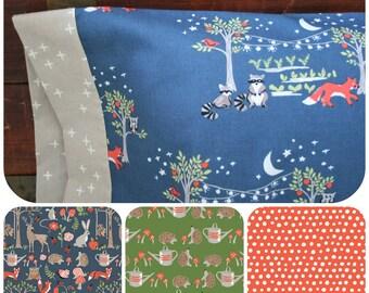 Organic Standard Pillowcase, Woodland, Organic Bedding, Neutral, Organic Pillowcase, Cotton, Foxes, Raccoons, Owls,  Cottage Garden