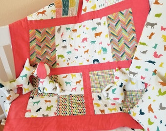 Organic, Baby Quilt,Toddler Quilt, Modern Quilt, Gender Neutral, Farm Animals, Baby Quilt Handmade, Toddler Bedding, Farm Fresh, Dogs, Cats