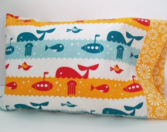 Organic Toddler Pillowcase, Organic Travel Pillowcase, Kids, Nautical Pillowcase, Toddler Pillowcase Boy, Whale of a Time