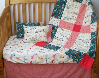 Organic Crib Bedding, Organic Baby Bedding, Crib Set, Organic Toddler Bedding, Baby Girl, Pink, Woodland Baby Bedding