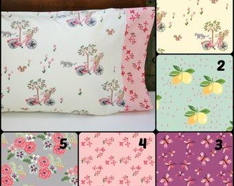Organic Toddler Pillowcase, Floral, Organic Travel Pillowcase, Girl, Bloom, Kitties, Floral Pillowcase, Pillow Cases, Eco Pillowcase, Custom