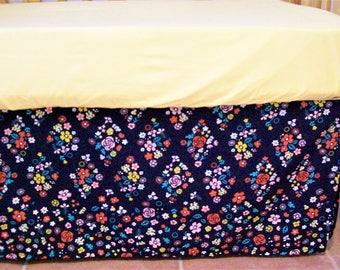 Organic Crib Skirt, Floral, Girl, Modern Americana, Indigo, Calico, Organic Crib Bedding, Organic, Floral Crib Skirt, Baby Bedding