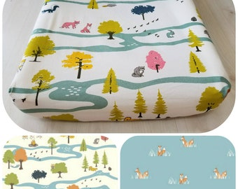 Organic Changing Pad Cover, Organic Contoured Changing Pad Cover, Gender Neutral, Animals, Woodland, Floral, Birch Fabrics, Baby Boy, Girl