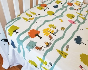 Organic Crib Sheet, Woodland, Gender Neutral, Fitted Crib Sheet, Toddler Sheet, Organic, Camp Sur, Camping, Foxes, Outdoors, Trees