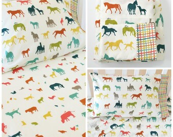 Organic Crib Sheet Set, Organic Toddler Sheet Set, Farm Fresh, Organic Baby Bedding, Organic Toddler Bedding, Animals, Horses, Crib Sheets