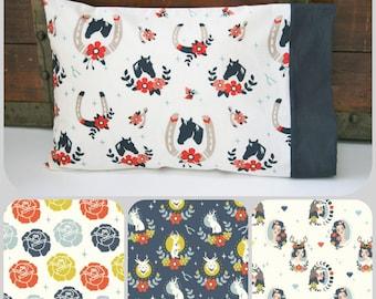 Organic Toddler Pillowcase, Girl, Organic Travel Pillowcase, Kids, Organic, Horses, Pillow Cases, Horse Toddler Bedding, Tall Tales, Floral