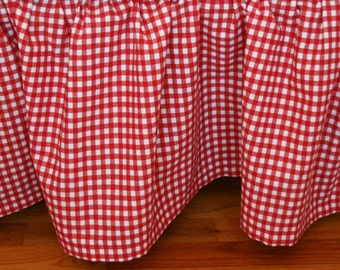 Organic Crib Skirt, Gingham Crib Skirt, Red Crib Skirt, Plaid Crib Skirt, Gingham, Plaid, Red, White, Checked Crib Skirt, Organic
