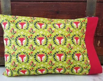 Organic Toddler Pillowcase, Organic Toddler Bedding, Neutral, Organic Travel Pillowcase, Foxes, Owls, Farm Animals, Folkland, Baby Boy