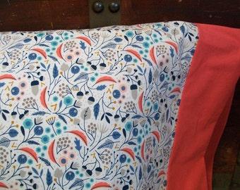 Organic Toddler Pillowcase, Floral, Organic Travel Pillowcase, Kids, Blue, Aqua, Coral, Gray, Floral Pillowcase, Pillow Cases,  Art Deco