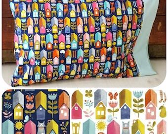 Organic Toddler Pillowcase, Organic Travel Pillowcase, Kids, Toddler Bedding, Cats, Paint the Town, Houses