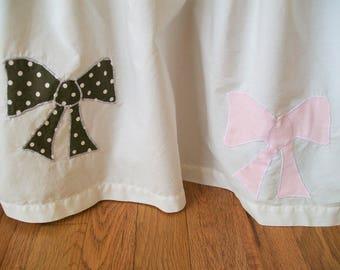 SALE, Organic Crib Skirt, Applique, Baby Toile, Brown, Pink,  Baby Girl, Ready To Ship, Organic Crib Bedding, Organic Toddler Bedding