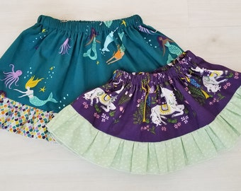 Girl's Skirt, Organic Todder Skirt, Girl, Skirts, Organic Girls Clothing, Mommy and Me, Unicorns, Mermaids, Magical Creatures