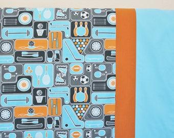 Organic Baby Blanket, Boy, Organic Receiving Blanket, Soccer, Baseball, Toddler Blanket, Sports, Blue, Baby Boy, Baby Shower Gift, Organic