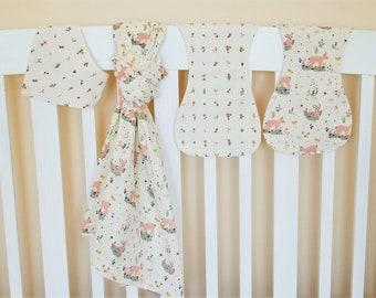 Baby Gift, Organic Swaddle Blanket, Woodland, Organic Baby Blanket, Burp Cloths, Bandana Bib, Baby Girl, Deer, Baby Shower Gift, Little