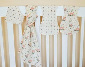 Baby Gift, Organic Swaddle Blanket, Woodland, Organic Baby Blanket, Burp Cloths, Baby Girl, Deer, Baby Shower Gift, Little, Deer, Floral