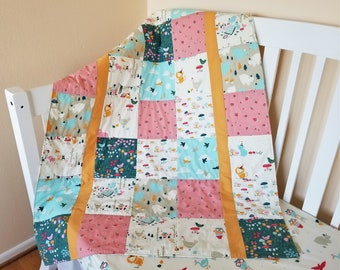 Organic Baby Quilt, Organic Toddler Quilt, Woodland, Handmade, Forest, Organic, Baby Blanket, Owls, Modern Quilt, Chickens, It's My Party