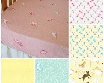 Organic Crib Sheet, Girl, Crib Sheets, Pink, Kitties, Cats, Organic Toddler Sheet, Cotton Fitted Crib Sheet, Organic, Kittens, Cattitude