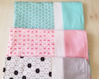 Organic, Baby Blanket, Flannel, Receiving Blanket, Pigs, Sheep, Owls, Doolittles, Ready to Ship, Baby Shower Gift, Toddler Blanket