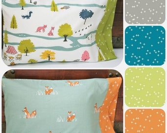 Organic Toddler Pillowcase, Organic Travel Pillowcase Kids, Organic Toddler Bedding, Woodland, Camping, Foxes, Camp Sur, Woodland Pillowcase