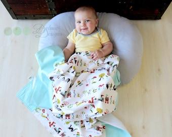Alphabet Organic Baby Blanket, Animal, Alphabet, Organic Receiving Blanket, Organic Stroller Blanket, Gender Neutral, Receiving Blanket Girl
