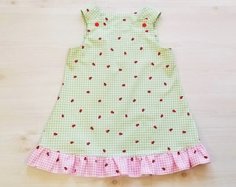 Organic, Toddler Dress, Organic Dress Girl, Organic Girls Clothing, Lady Bugs, Summer Dress, Girls Dress, Gingham Dress