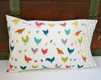 Organic Toddler Pillowcase, Neutral, Organic Travel Pillowcase, Kids, Animals, Chickens, Farm Animals, Organic Toddler Bedding, Farm Fresh