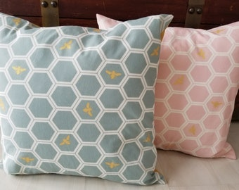 Organic, Throw Pillow Covers, 18 x 18, Sofa Pillow Covers, Glam, Farmhouse, Honeycomb, Bee, Metallic, Gold, Pink, Gifts for Her, Mod Nouveau