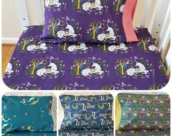 Organic Crib Sheet Set, Girl, Toddler Sheet Set, Boy, Magical Creatures, Unicorns, Dragons, Mermaids, Floral, Organic, Baby Bedding Set