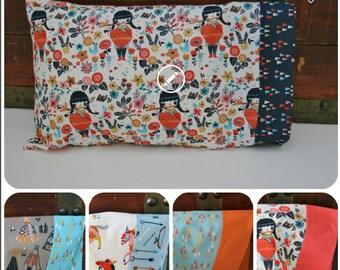 Organic Toddler Pillowcase, Organic Travel Pillowcase, Gift for Toddler, Pillowcase, Wildland, Floral, Pillow Case, Ready to Ship, Boy, Girl