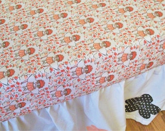 Organic Crib Sheet, Coral, Cotton Fitted Crib Sheet, Baby Girl, Organic, Peekaboo, Organic Toddler Sheet, Floral, Crib Sheet, Baby Bedding