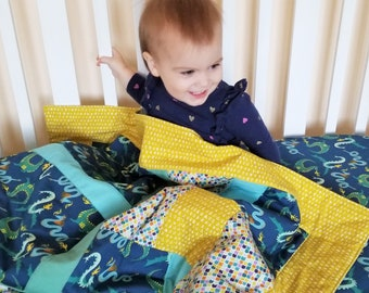 Organic Baby Quilt, Organic Toddler Quilt, Modern Quilt, Dragon Quilt, Magical Creatures