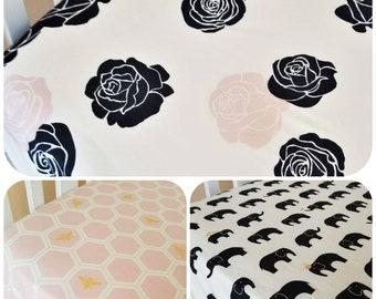 Organic Crib Sheet, Floral, Organic Toddler Sheet, Girl, Floral Crib Sheet, Roses, Bees, Elephants, Metallic, Glam, Cotton Crib Sheet