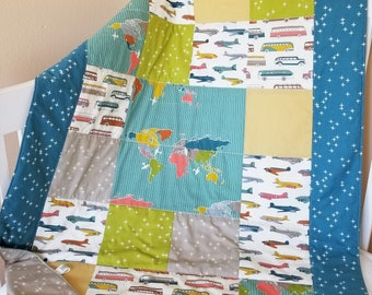 Organic Baby Quilt, Organic Toddler Quilt, Handmade, Baby Boy, Modern Quilt, Trans Pacific, Maps, Buses, Airplanes, Transportation, Travel