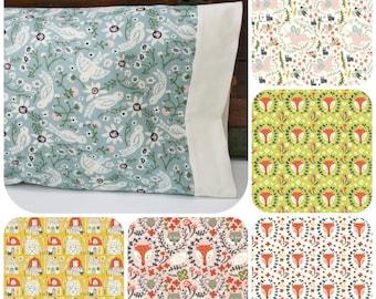 Organic Toddler Pillowcase, Neutral, Woodland, Organic Toddler Bedding, Girl, Organic Travel Pillowcase, Foxes, Birds, Unicorns, Folkland