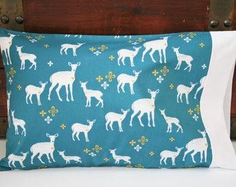 Ready to Ship, Organic Toddler Pillowcase, Woodland, Organic Travel Pillowcase, Kids, Deer, Toddler Pillowcase, Gender Neutral, Baby Gift