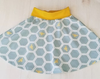 Girl's Skirt, Organic Todder Skirt, Girl, Skirts, Organic Girls Clothing, Bees, Honeycomb, Metallic Gold, Mod Nouveau