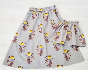 Mommy and Me, Organic Women's Skirt, Organic Girl's Skirt, Organic Toddler Skirt, Organic Cotton, Charley Harper