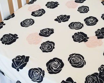 Organic Crib Sheet, Floral, Organic Toddler Sheet, Girl, Floral Crib Sheet, Roses, Blush, Navy Blue, Toddler Bedding, Baby Girl, Mod Nouveau