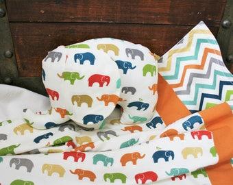 Elephant Baby Blanket, Organic Baby Blanket, Elephants, Organic, Stroller Blanket, Baby Shower Gift, Gender Neutral,  Ready to Ship