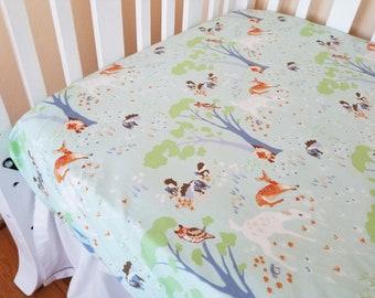 Organic Crib Sheet, Woodland, Gender Neutral, Fitted Crib Sheet, Toddler Sheet, Organic, Woodland Gathering, Deer, Foxes, Trees, Owls, Mint