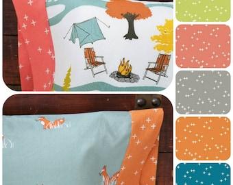 Organic Standard Pillowcase, Organic Pillowcase, Organic Bedding, Woodland, Camping, Foxes, Camp Sur, Woodland Pillowcase, Cotton Pillowcase