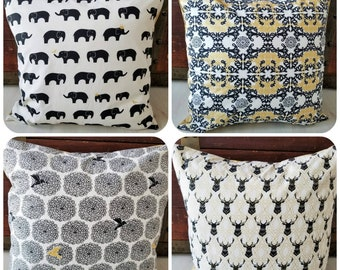 Organic, Throw Pillow Covers, 18 x 18, Sofa Pillow Covers, Slipcovers, Gold, Farmhouse, Elephants, Stags, Elk, Floral, Mod Nouveau, Inkwell