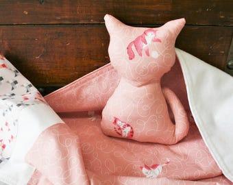 Gift for Baby Girl, Organic Baby Blanket, Baby Shower Gift Set, Organic Stuffed Animals, Cats, Kitties, Stuffed Cat, Receiving Blanket, Pink