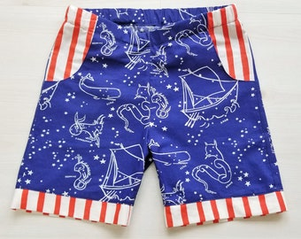 Organic, Boys Shorts, Toddler Shorts, Unisex Shorts, Saltwater, Nautical, Americana, 4th of July, Summer Clothing