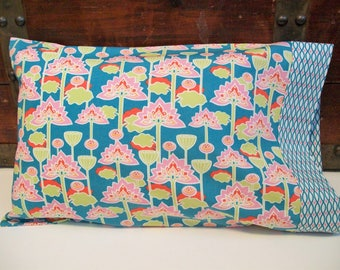 Custom Organic Toddler Pillowcase, Girl, Custom Organic Travel Pillowcase, Floral, Lotus Blossom, Pillow Cases, Teal, Pink, Toddler Bedding