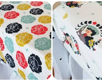 Organic Crib Sheet, Cotton Fitted Crib Sheet,  Floral, Organic Toddler Sheet, Toddler Bedding, Baby Girl, Tall Tales, Baby Gift, Roses