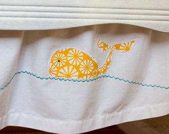 Organic Crib Skirt, Whale Crib Skirt, Nautical Crib Skirt, Sale, Baby Boy, Crib Skirt, Organic Baby Bedding, Gender Neutral, Whales