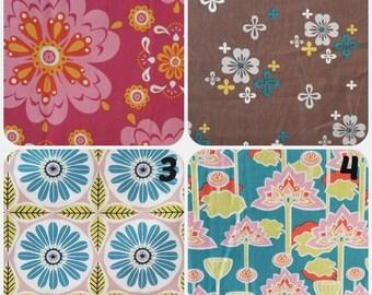 Organic Fabric, Fabric Destash, Organic Floral Fabric, Lotus Blossoms, Fabric by the Yard, Sale Fabric, Monaluna